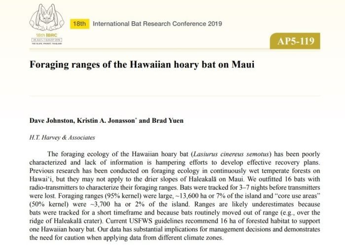 Johnston et al foraging ranges of bats on Maui IBRC 2019 p 317 of abstracts